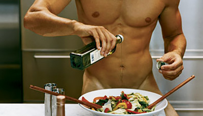 Nude with Food and Drinks